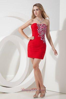 Red Strapless Beading Short Prom Nightclub Dress Mini-length Chiffon