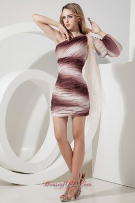Ombre Color Prom Dress One Shoulder Mini-length Chiffon