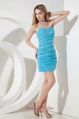 Aqua Sweetheart Beading Short Prom Party Dress Mini-length Chiffon