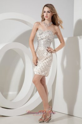 Champagne Sweetheart Beading Short Prom Gown Mini-length Satin