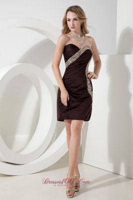 Brown Sweetheart Beading Short Prom Dress Mini-length Satin