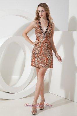Leopard V-neck Beading Short Prom Party Gown Mini-length