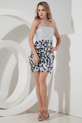 Silver Strapless Sequins Short Prom Nightclub Gown Mini-length Sequin