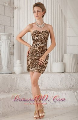 Leopard Sweetheart Mini-length Prom Homecoming Dress