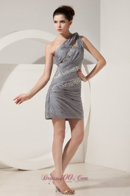 Grey One Shoulder Short Prom Nightclub Dress Mini-length Chiffon Beading
