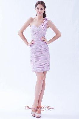 Lavender One Shoulder Prom Dress Mini-length Chiffon