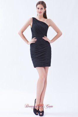 Black One Shoulder Little Black Dress Chiffon Pleats