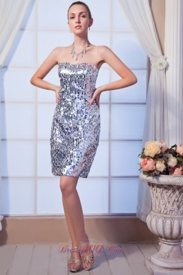 Silver Cocktail Dress Strapless Mini-length Sequin Beading