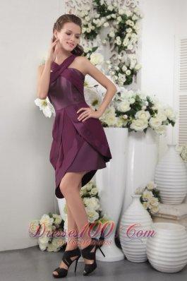 Asymmetrical Dark Purple Short Chiffon Bridesmaid Dress