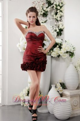 Wine Red Prom Gown Sweetheart Short Taffeta Beading