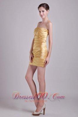 Gold Column Strapless Short Taffeta Ruch Cocktail Dress