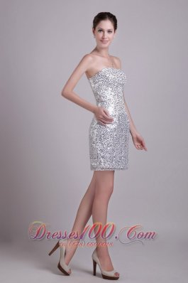 Silver Sequins Column Strapless Short Cocktail Nightclub Dress