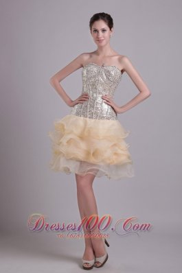 Prom Nightclub Gown Champagne Short Organza and Sequins