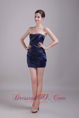 Navy Blue Cocktail Gown Strapless Mini-length Taffeta