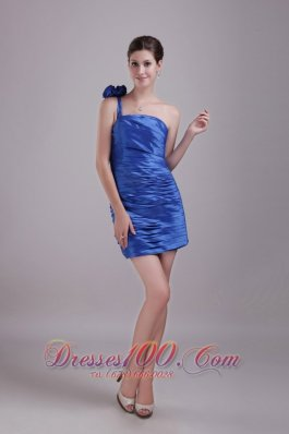 Blue Prom Gown One-shoulder Mini-length Floral