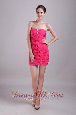Hot Pink Prom Nightclub Gown Strapless Mini-length Chiffon