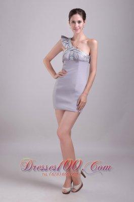 Grey Prom Gown One-shoulder mini-length Satin Rhinestone