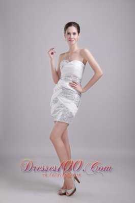 White Prom Gown Sweetheart Mini-length Chiffon and Sequin Ruch