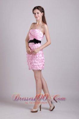 Pink Mini-length Taffeta Sash and Ruch Homecoming Dress