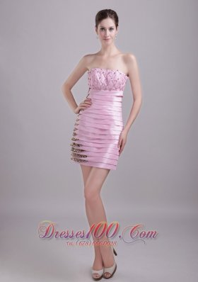 Baby Pink Leopard Strapless Knee-length Ruffles Prom Party Dress