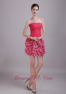 Red Homecoming Nightclub Dress Mini-length Chiffon and Organza Ruch