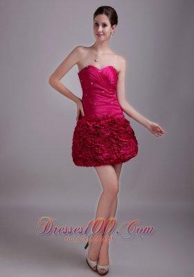Hot Pink Homecoming Dress Princess Sweetheart Mini-length Beading