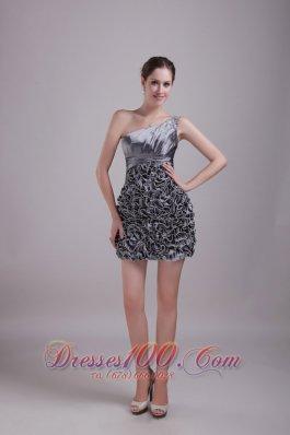 Sequins Grey One Shoulder Mini-length Taffeta Homecoming Dress