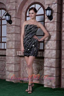 Black Column Cocktail Dress Taffeta Sequins and Beading Mini-length