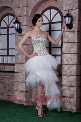 Column Strapless High-low Prom Celebrity Dress Beading Taffeta and Tulle