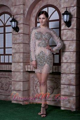Column Scoop Cocktail Celebrity Dress Organza Beading Mini-length