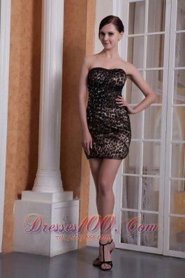 Leopard Colorful Cocktail Dress Beading Mini-length