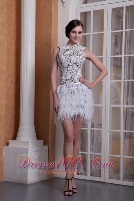 Feather Elastic Woven Satin Cocktail Dress Scoop Mini-length