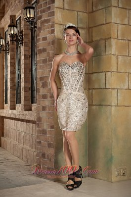 Sequin Champagne Sweetheart Short Prom Dress Mini-length
