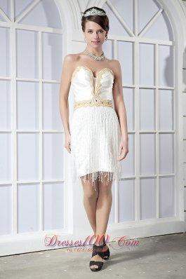 Party Gown White Sweetheart Mini-length Satin Beading