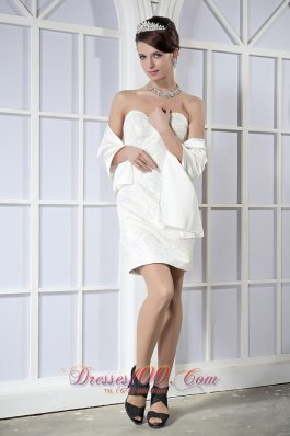 Satin and Sequin White Sweetheart Mini-length Prom Dress