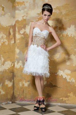 White Knee-length Satin and Feather Beading Evening Nightclub Dress