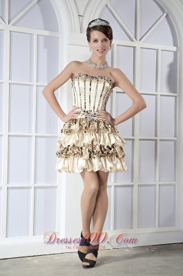 Light Yellow Party Gown Sweetheart Mini-length Taffeta