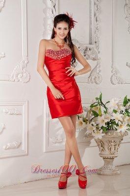 Inexpensive Red Cocktail Dress Satin Beading Mini-length