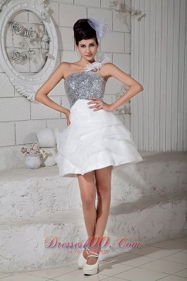 White A-line One Shoulder Cocktail Dress Organza Mini-length