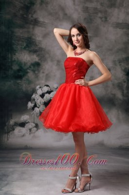Clearance Red Strapless Cocktail Dress Organza Mini-length