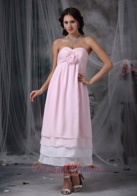 Dama Dresses Pink Sweetheart Tea-length Chiffon