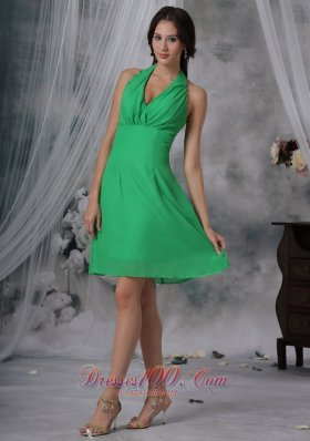 Spring Green Halter Dama Dresses Knee-length Chiffon