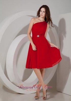 Wine Red Empire Dama Dresses One Shoulder Chiffon