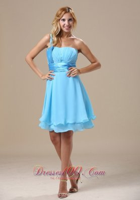 One Shoulder Light Blue Dresses For Damas Chiffon Knee-length