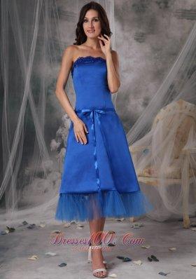 Blue Strapless Dresses For Damas Taffeta Ribbons Tea-length