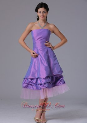 Lavender A-line Strapless Dresses For Damas Tea-length