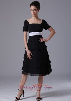 Black tiered skirt Square Black Dama Dresses Chiffon