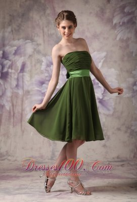 Olive Green Bridesmaid Dress Chiffon Strapless Short
