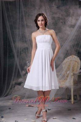 White Strapless Dresses For Damas Chiffon Ruch Knee-length