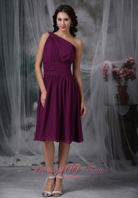 One Shoulder Purple Short Chiffon Bridesmaid Dama Dress